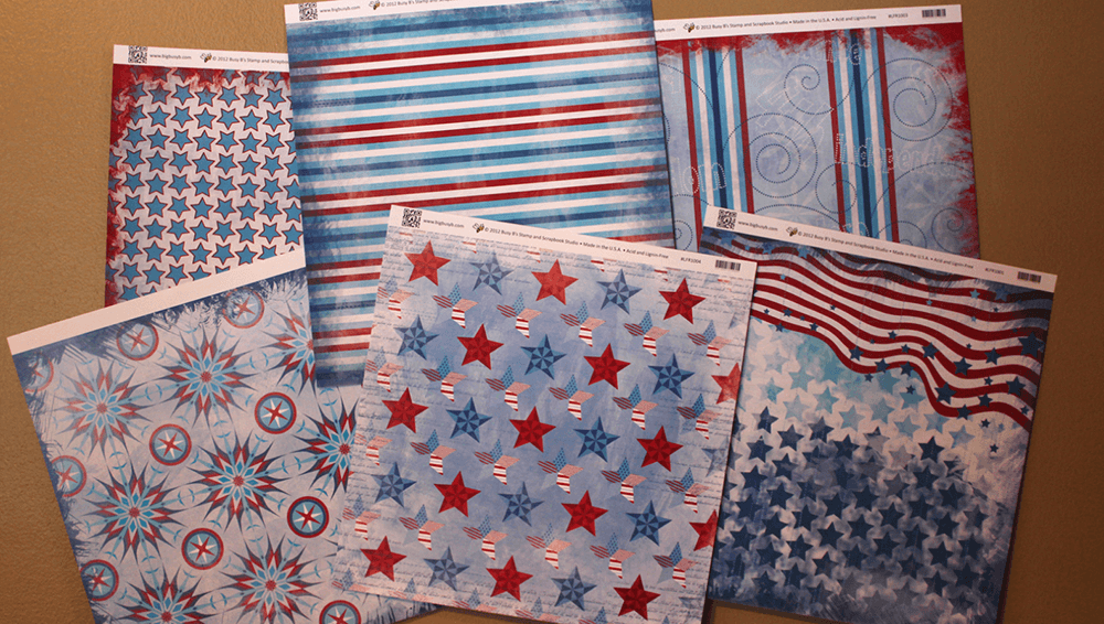 Americana-inspired scrapbook pages show patterns